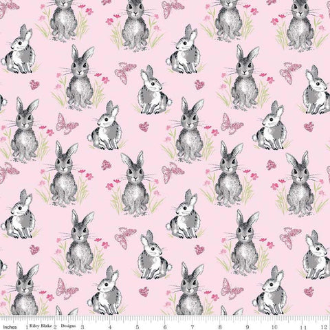 SALE Pretty Bunnies Novelty Pink by Riley Blake Designs - Easter - Quilting Cotton Fabric - choose your cut