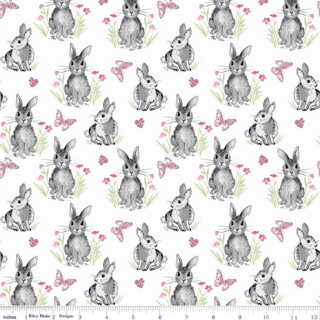 SALE Pretty Bunnies Novelty White by Riley Blake Designs - Easter - Quilting Cotton Fabric - choose your cut