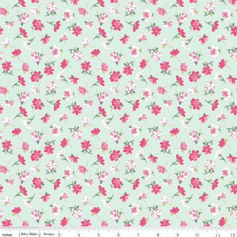 SALE Flowers Novelty Mint by Riley Blake Designs - Easter Green Floral - Quilting Cotton Fabric - choose your cut