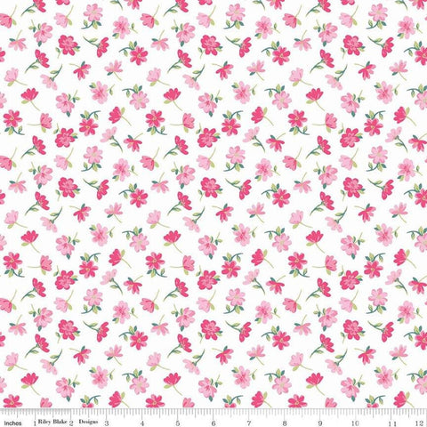 Flowers Novelty White by Riley Blake Designs - Easter Pink Floral - Quilting Cotton Fabric - choose your cut