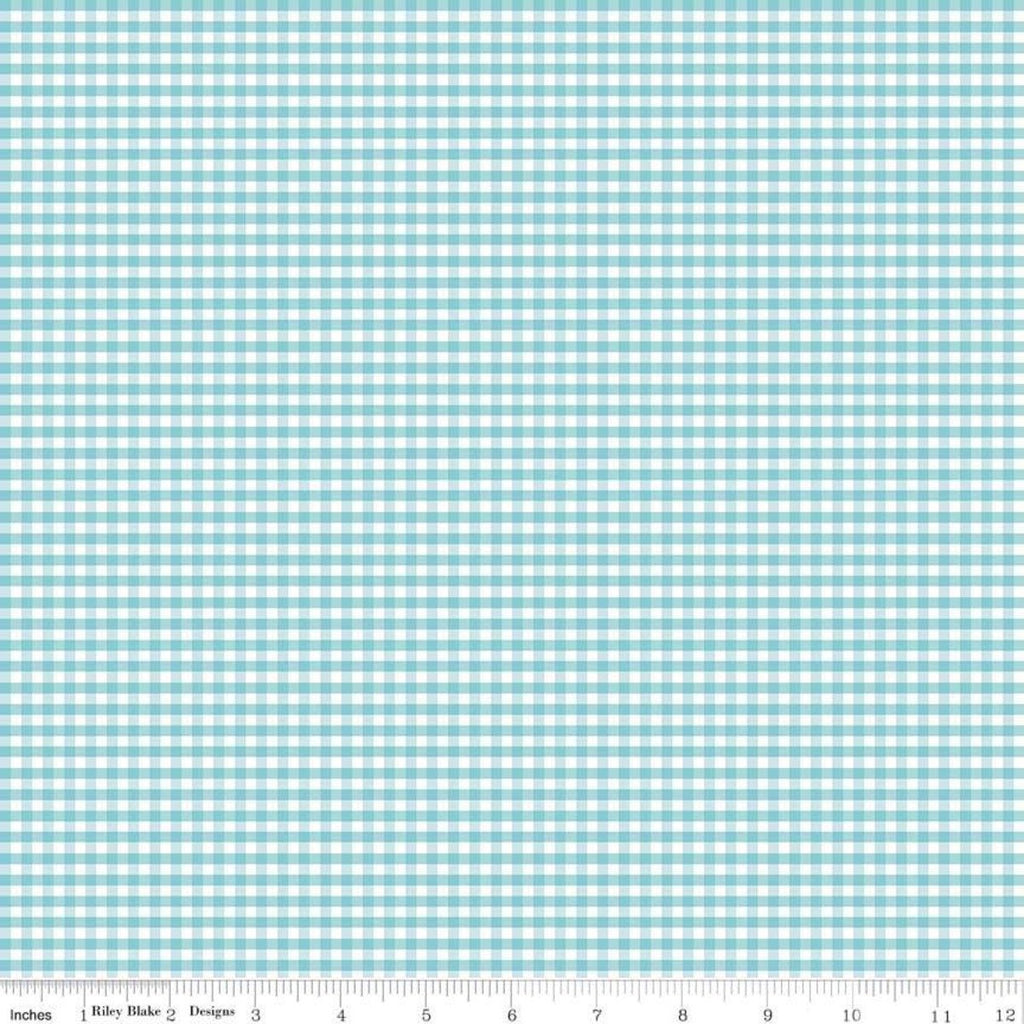 "SALE Aqua and White 1/8"" Eighth Inch Small PRINTED Gingham - Riley Blake Designs - Blue Checker - Quilting Cotton Fabric"