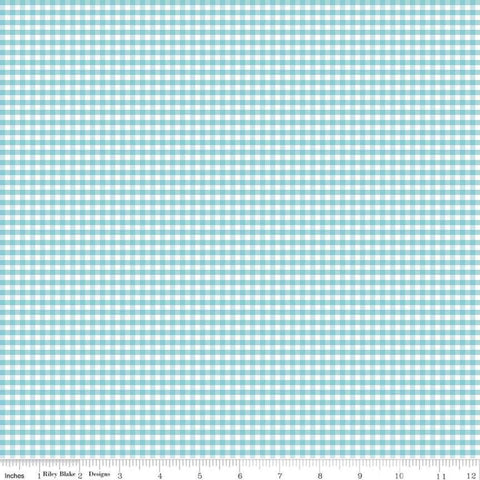 "Aqua and White 1/8"" Eighth Inch Small PRINTED Gingham - Riley Blake Designs - Blue Checker - Quilting Cotton Fabric"