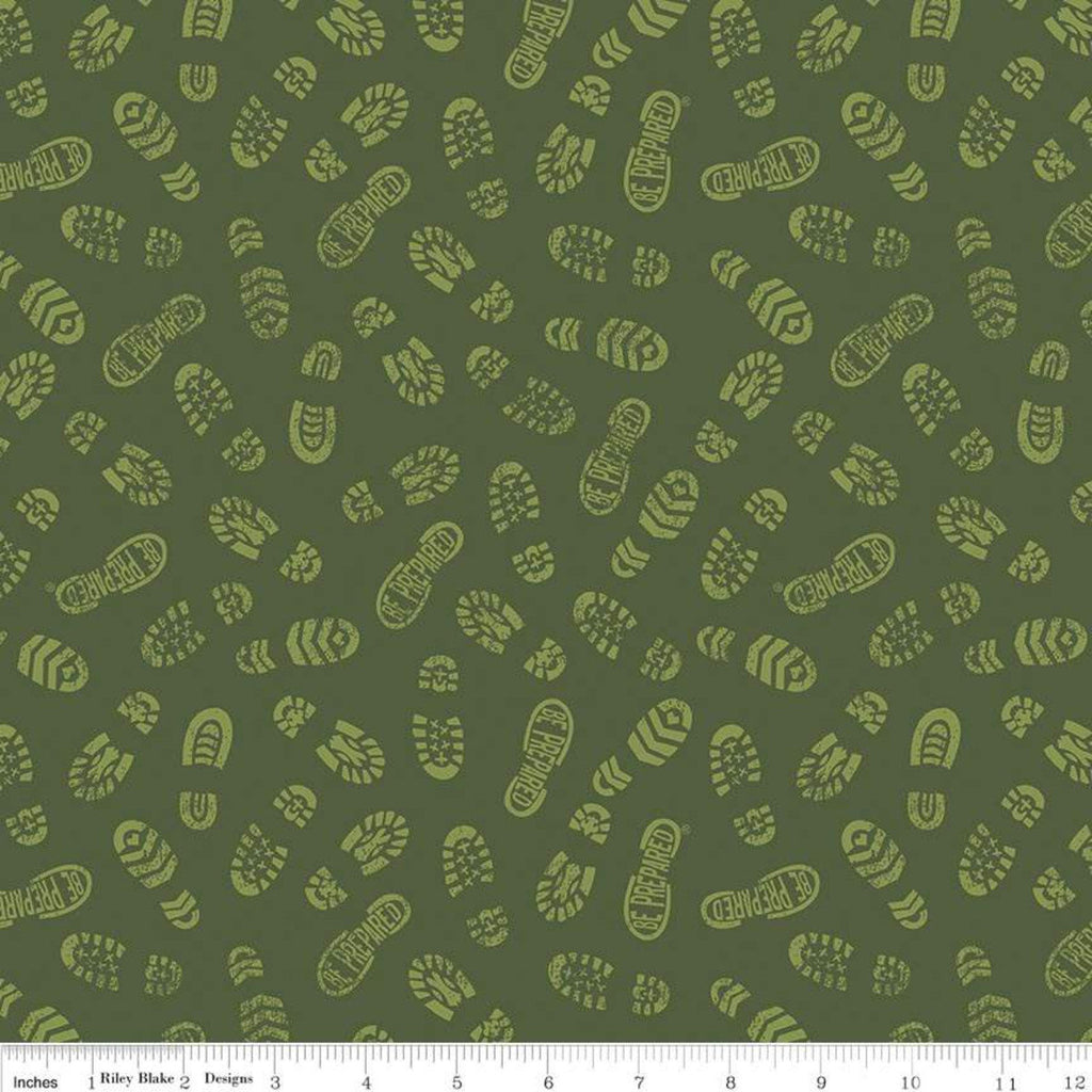SALE Modern Scouting Prints Green by Riley Blake Designs - Boy Scouts Camping Hiking Boots - Quilting Cotton Fabric
