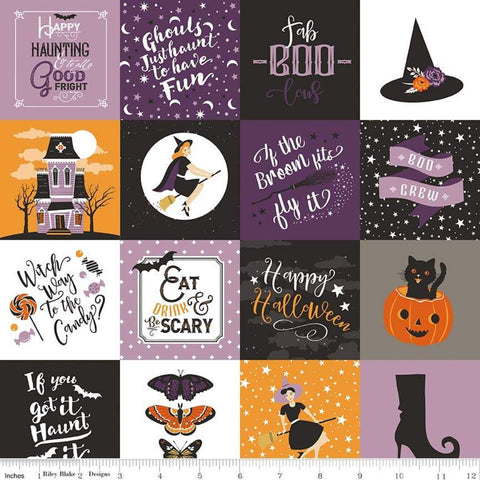 SALE Fab-boo-lous Main Multi - Riley Blake Designs - Halloween Patches Icons Sayings Witches - Quilting Cotton Fabric - end of bolt pieces