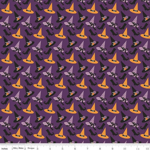 Fab-boo-lous Hats Purple - Riley Blake Designs - Halloween Witch Hats Boots - Quilting Cotton Fabric