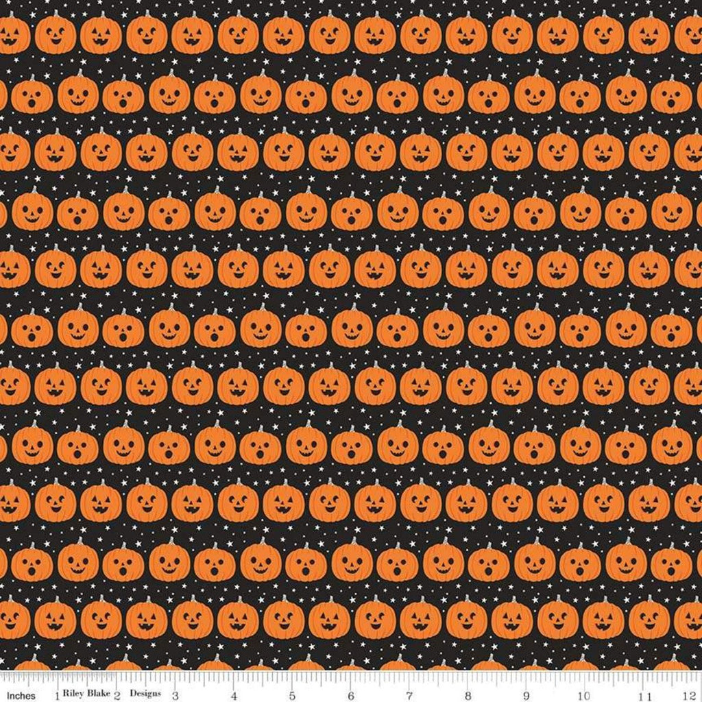 SALE Fab-boo-lous Pumpkins Black - Riley Blake Designs - Halloween Jack-o-Lanterns - Quilting Cotton Fabric