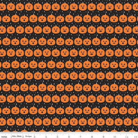 Fab-boo-lous Pumpkins Black - Riley Blake Designs - Halloween Jack-o-Lanterns - Quilting Cotton Fabric