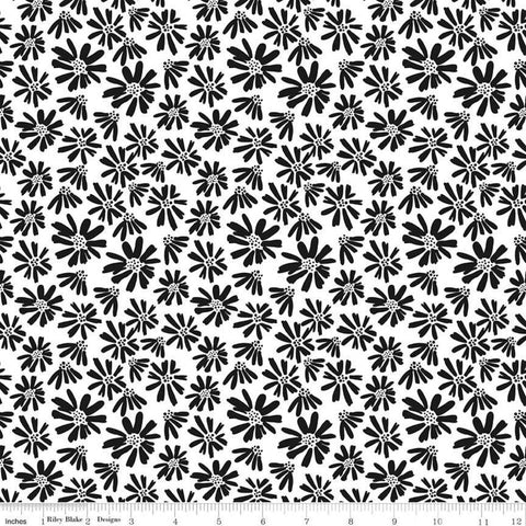 SALE Juniper Daisy White - Riley Blake Designs - Black and White Floral Flowers - Quilting Cotton Fabric