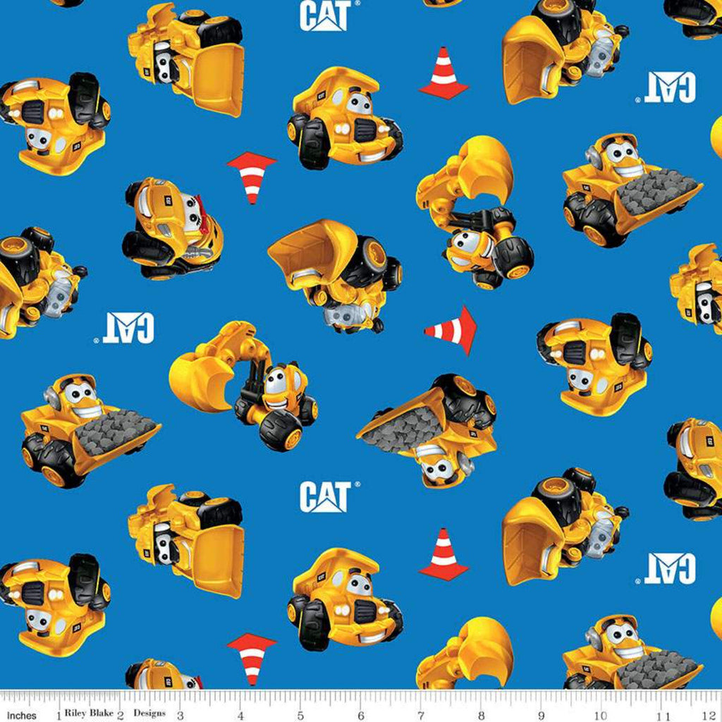 SALE CAT Buildin' Crew Wigglers All Over Blue - Riley Blake Designs - Construction Vehicles - Quilting Cotton Fabric
