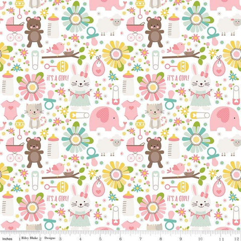 Sweet Baby Girl Main White - Riley Blake Designs - Bunnies Bears Elephants Sheep Bibs Cats - Quilting Cotton Fabric