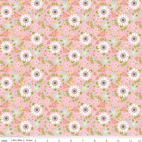 Sweet Baby Girl Garden Pink - Riley Blake Designs - White Pink Floral Flowers - Quilting Cotton Fabric - choose your cut
