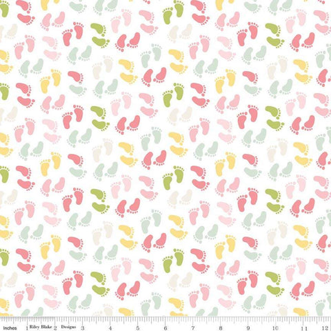 Sweet Baby Girl Feet Multi - Riley Blake Designs - Pink Green Yellow Footprints on White - Quilting Cotton Fabric - choose your cut