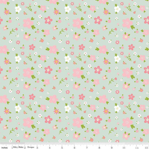 SALE Sweet Baby Girl Flowers Mint - Riley Blake Designs - Pink White Flowers Floral on Green - Quilting Cotton Fabric - choose your cut