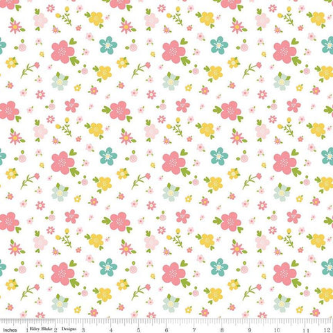 Sweet Baby Girl Flowers White - Riley Blake Designs - Pink Green Yellow Floral on White - Quilting Cotton Fabric - choose your cut