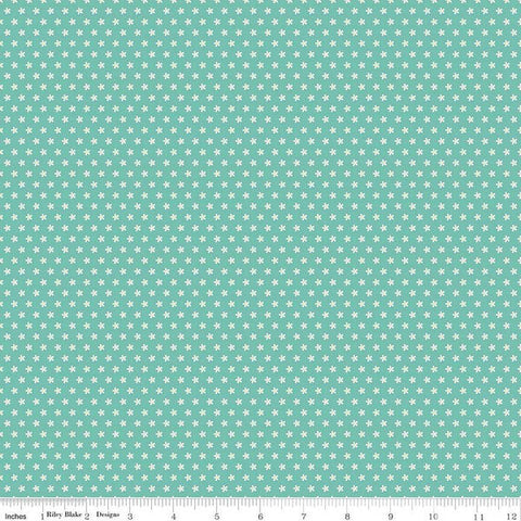 Sweet Baby Girl Daisies Teal - Riley Blake Designs - White Floral Flowers on Blue Green - Quilting Cotton Fabric - choose your cut