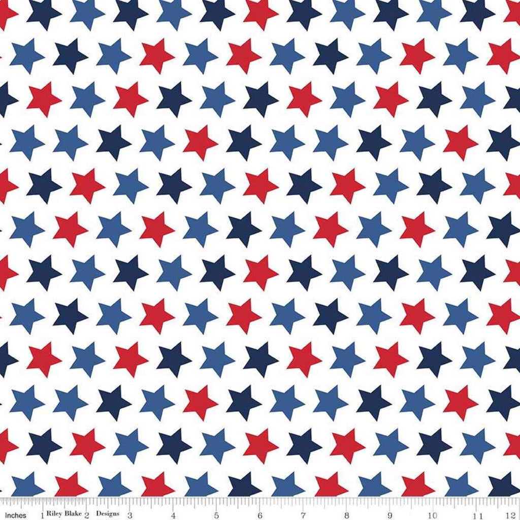 "SALE Star Patriotic - Riley Blake Designs - 1/2"" Stars on White - Quilting Cotton Fabric"