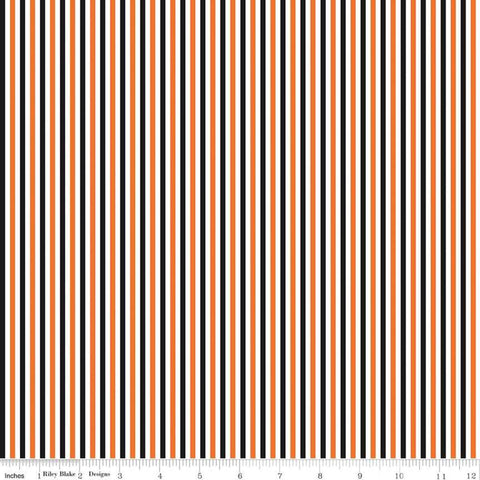 "1/8"" Stripe Halloween - Riley Blake Designs - One Eighth Inch Orange Black White Stripes - Quilting Cotton Fabric"