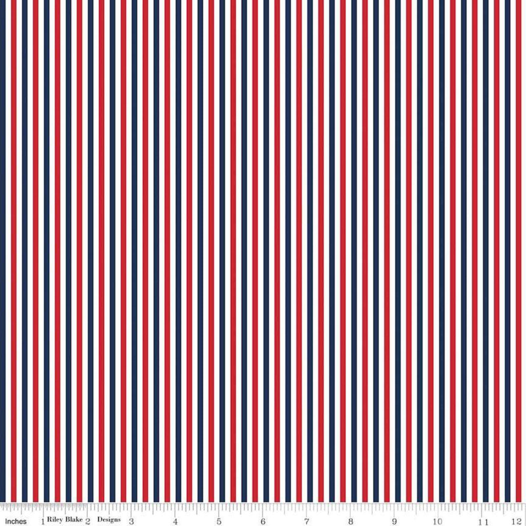 "1/8"" Stripe Patriotic - Riley Blake Designs - One Eighth Inch Red Blue White Stripes - Quilting Cotton Fabric"