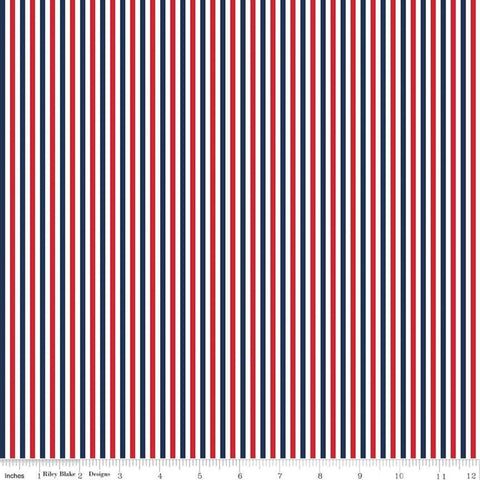 "SALE 1/8"" Stripe Patriotic - Riley Blake Designs - One Eighth Inch Red Blue White Stripes - Quilting Cotton Fabric"