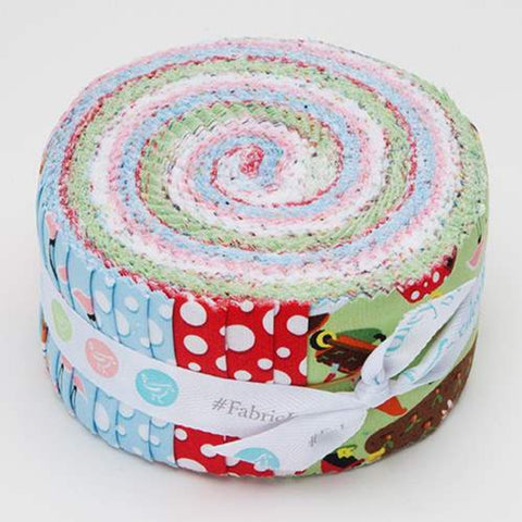 Gnome and Gardens Collection 2.5-Inch Rolie Polie Jelly Roll 40 pieces Riley Blake Designs - Precut Bundle - Quilting Cotton Fabric
