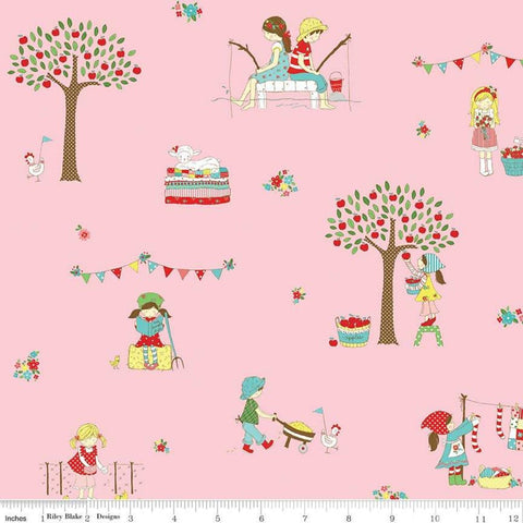 Simple Goodness Main Pink - Riley Blake Designs - Children Activities Fishing Reading - Quilting Cotton Fabric - choose your cut