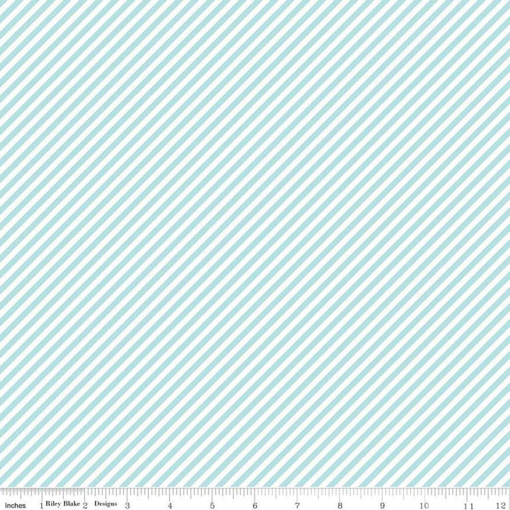 Simple Goodness Bias Stripes Aqua - Riley Blake Designs - Blue and White Diagonal Stripes - Quilting Cotton Fabric