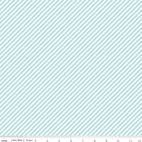 SALE Simple Goodness Bias Stripes Aqua - Riley Blake Designs - Blue and White Diagonal Stripes - Quilting Cotton Fabric - choose your cut