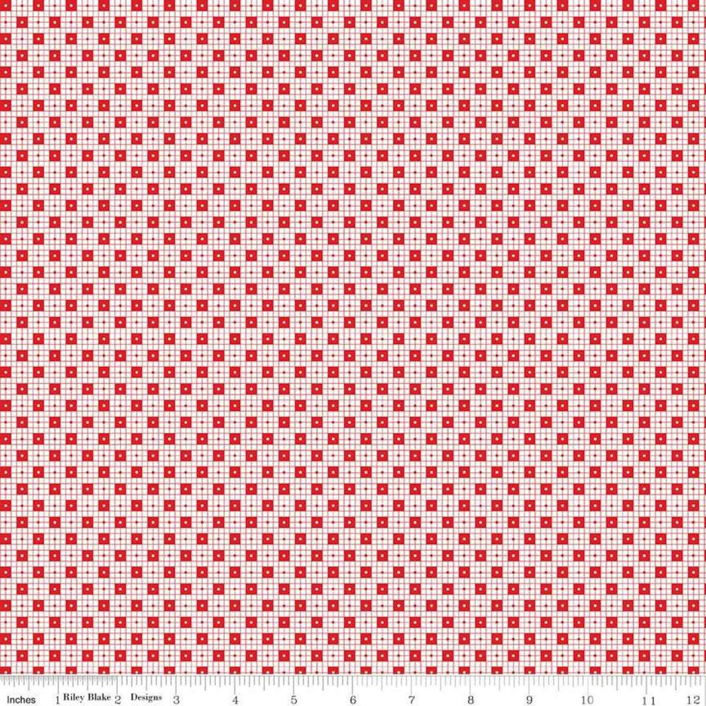 SALE Simple Goodness Checker Dots Red - Riley Blake Designs - Red on White Dots Squares - Quilting Cotton Fabric