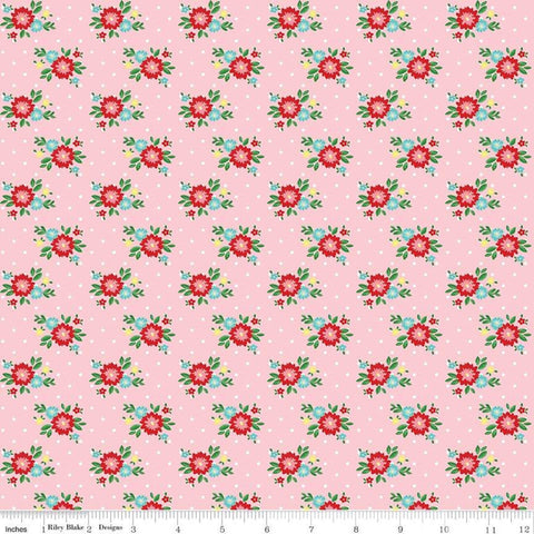 SALE Simple Goodness Floral Pink - Riley Blake Designs - Flowers - Quilting Cotton Fabric - choose your cut