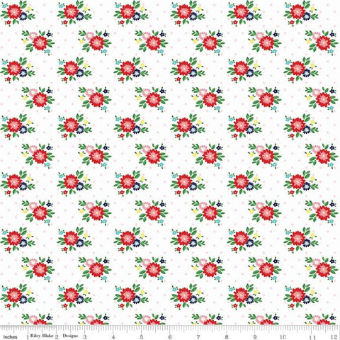 SALE Simple Goodness Floral White - Riley Blake Designs - Flowers - Quilting Cotton Fabric - choose your cut