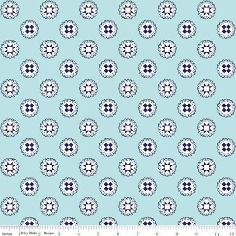 SALE Simple Goodness Quilt Stars Aqua - Riley Blake Designs - Navy Blue and White Quilt Blocks - Quilting Cotton Fabric - choose your cut