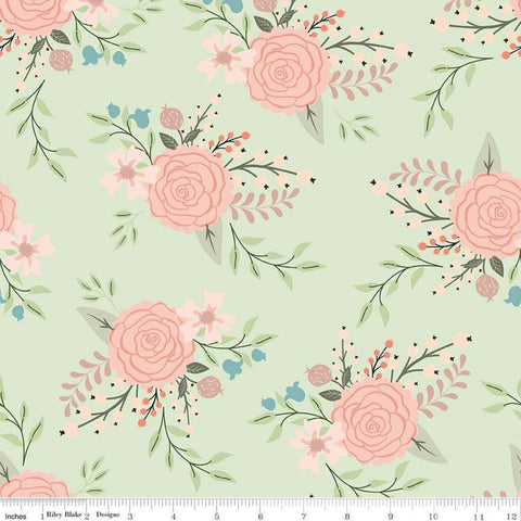 Bliss Main Mint SPARKLE - Riley Blake Designs - Green Floral Flowers Rose Gold SPARKLE - Quilting Cotton Fabric