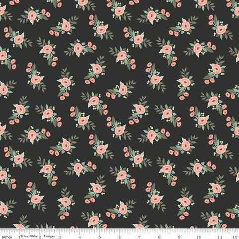 Bliss Floral Black - Riley Blake Designs - Flowers -  Quilting Cotton Fabric