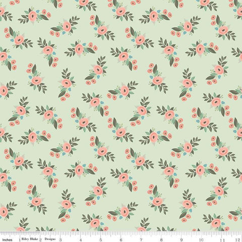 Bliss Floral Mint - Riley Blake Designs - Flowers Green -  Quilting Cotton Fabric