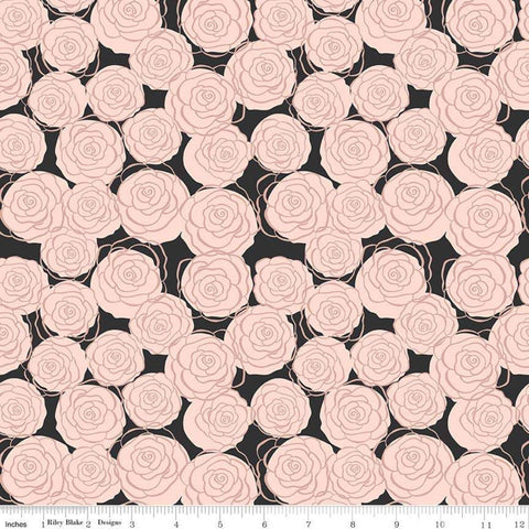 Bliss Roses Black SPARKLE - Riley Blake Designs - Floral Flowers Rose Gold SPARKLE - Quilting Cotton Fabric