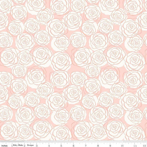 Bliss Roses Blush SPARKLE - Riley Blake Designs - Pink Cream Floral Flower Rose Gold SPARKLE - Quilting Cotton Fabric