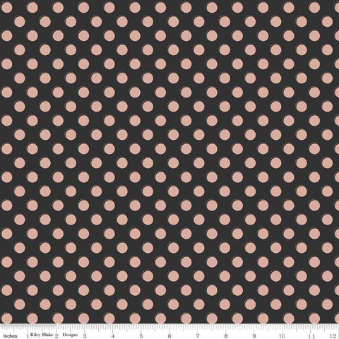 SALE Bliss Dots Black SPARKLE - Riley Blake Designs - Blush Pink Dots with Rose Gold METALLIC - Quilting Cotton Fabric