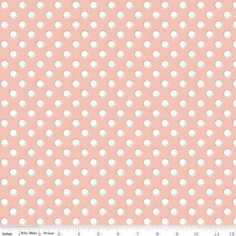 Bliss Dots Blush - Riley Blake Designs - Pink and Cream Polka Dots -  Quilting Cotton Fabric