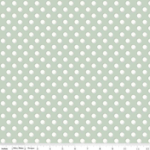 Bliss Dots Sage - Riley Blake Designs - Green and Cream Polka Dots -  Quilting Cotton Fabric