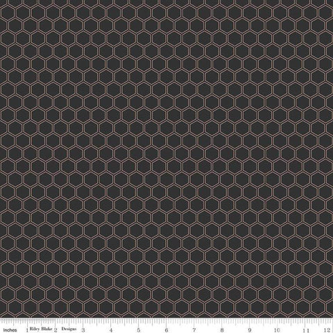 SALE Bliss Honeycomb Black SPARKLE - Riley Blake Designs - Rose Gold METALLIC - Quilting Cotton Fabric