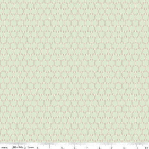 SALE Bliss Honeycomb Mint SPARKLE - Riley Blake Designs - Green Geometric Rose Gold METALLIC - Quilting Cotton Fabric