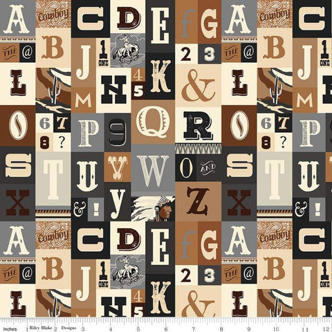 SALE Cowboy Country Alpha Brown - Riley Blake Designs - Alphabet Western Brown Black Gray Cream-  Quilting Cotton Fabric