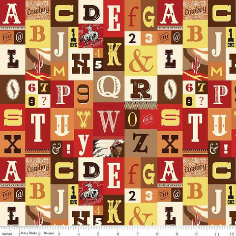 SALE Cowboy Country Alpha Red - Riley Blake Designs - Alphabet Western Letters Cream-  Quilting Cotton Fabric
