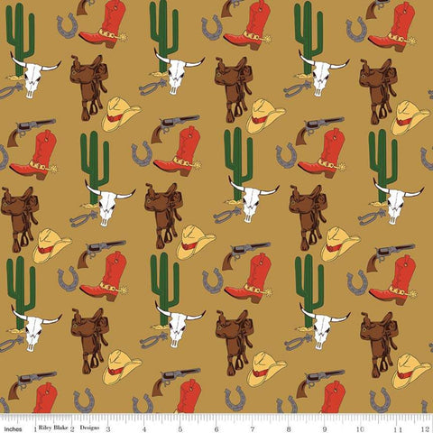 Cowboy Country Gear Tan - Riley Blake  - Hats Saddles Guns Boots Cacti Western -  Quilting Cotton Fabric - end of bolt pieces