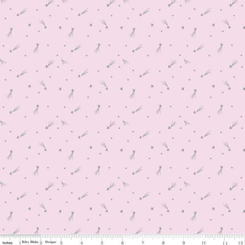 My Unicorn Shooting Stars Pink SPARKLE - Riley Blake Designs - Metallic Silver SPARKLE - Quilting Cotton Fabric - choose your cut