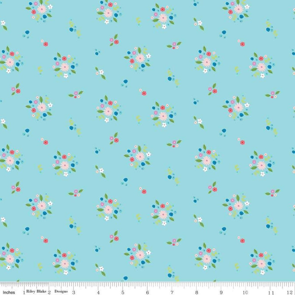 Anne of Green Gables Kindred Spirits Bouquet Aqua - Riley Blake Designs - Blue Floral - Quilting Cotton Fabric - End of bolt pieces