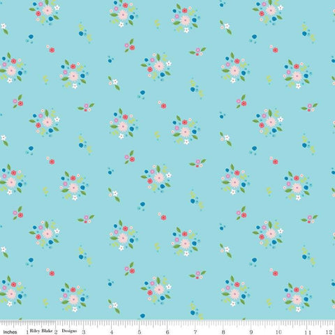 Anne of Green Gables Kindred Spirits Bouquet Aqua - Riley Blake Designs - Blue Floral - Quilting Cotton Fabric