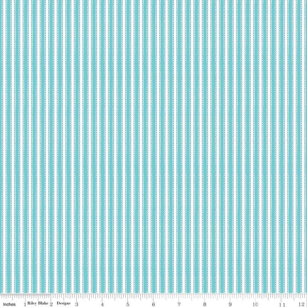 Anne of Green Gables Kindred Spirits Ticking Aqua - Riley Blake Designs - Blue Cream Stripes - Quilting Cotton Fabric