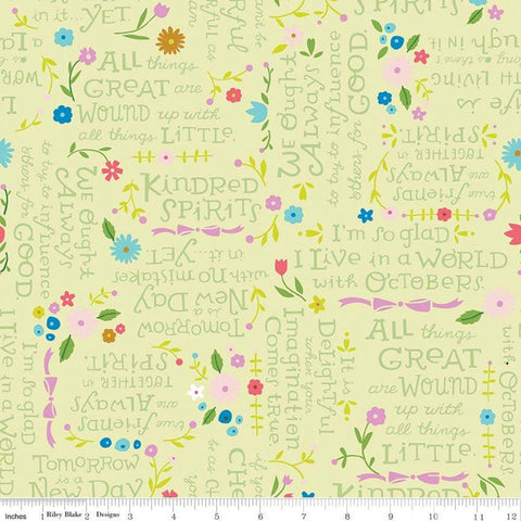 Anne of Green Gables Kindred Spirits Quotes Light Green - Riley Blake Designs - Text Flowers - Quilting Cotton Fabric