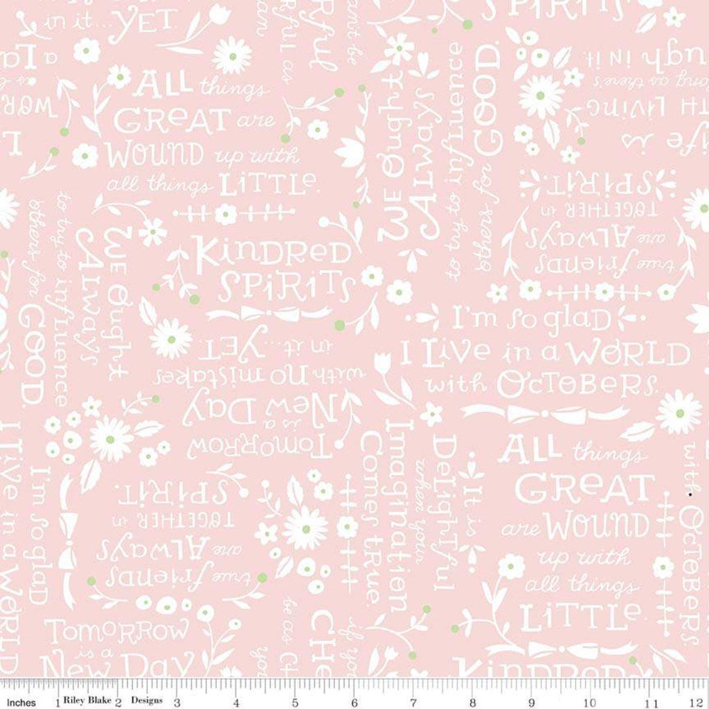 Anne of Green Gables Kindred Spirits Quotes Pink - Riley Blake Designs - Pink Cream Text - Quilting Cotton Fabric